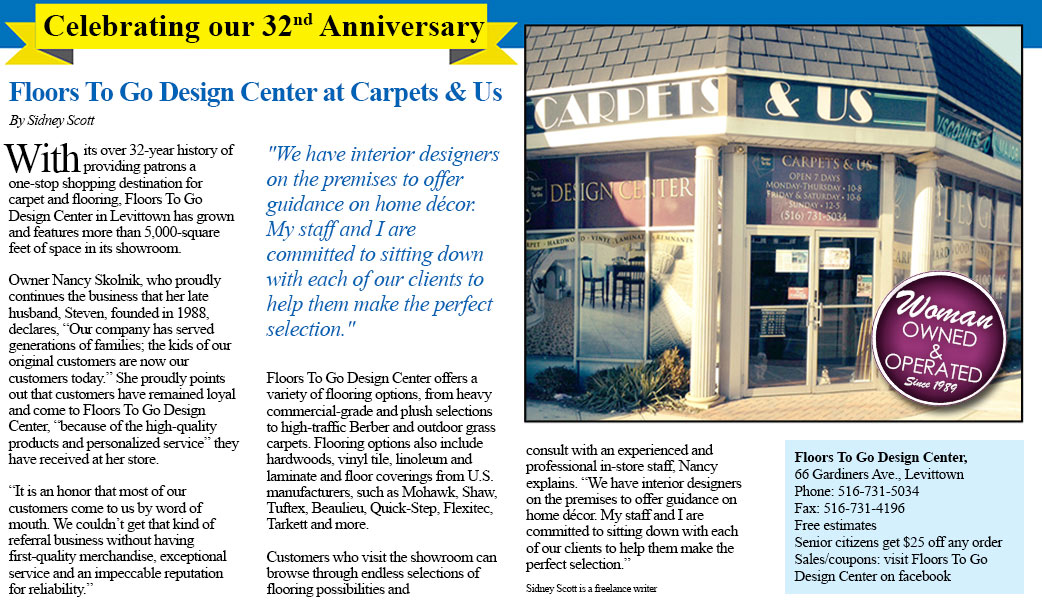 Carpets & Us is proud to have celebrated its 29th anniversary in Levittown