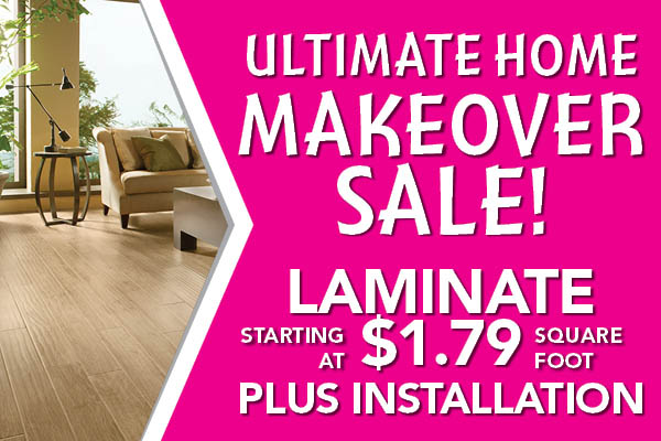 Laminate on sale starting at $1.79 sq.ft. plus installation during the Home Makeover Sale at Carpets & Us Floors To Go Design Center